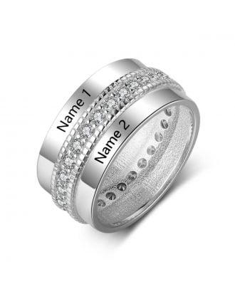 Anel gravado personalizado em prata / ouro rosa / banhado a ouro