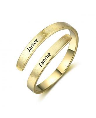 Anel gravado banhado a ouro / prata / ouro personalizado