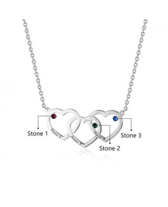 Customized Silver / Gold / Rose Gold Plated Engraved Heart Necklace With Birthstone