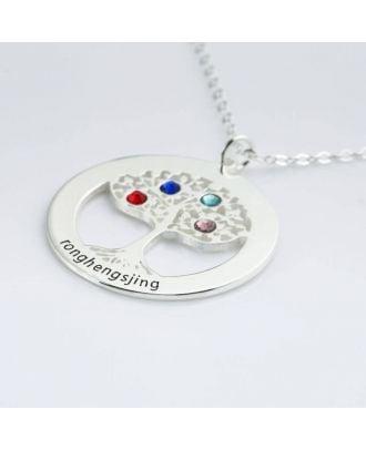 Personaliseret sterling sølv 925 indgraveret halskæde med fødselsten