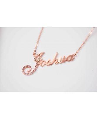 Prata esterlina feito-à-medida 925 / colar nome do cobre com diamante