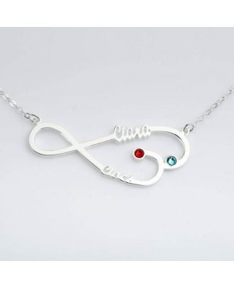Custom Sterling Silver 925 Infinity Name Necklace With Birthstone
