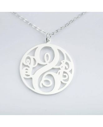 Customized Sterling Silver 925 Monogram 3 Initial Pendant Necklace