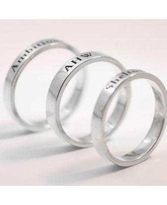 Prispôsobený zásnubný prsteň z gravírovaného striebra 925