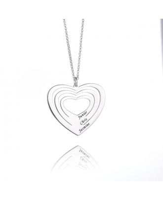 Customized Sterling Silver 925 Engraved Heart Necklace
