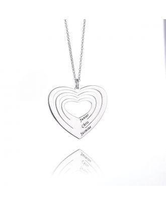 Colar gravada em prata esterlina personalizada do coração 925