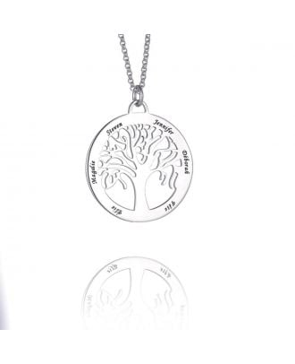 Custom Made Sterling Silver 925 Engraved Family Tree Necklace