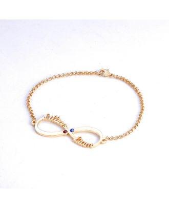 Custom Sterling Silver 925 Infinity Name Bracelet With Birthstone