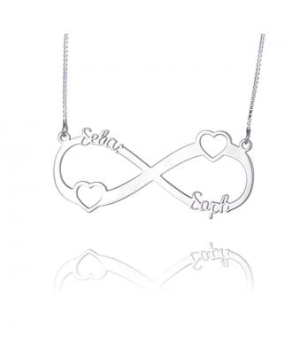 Personalised Sterling Silver 925 Infinity Heart Necklace With 2 Names