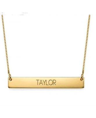 Colar gravada barra personalizada de ouro rosa / ouro branco / banhado a ouro