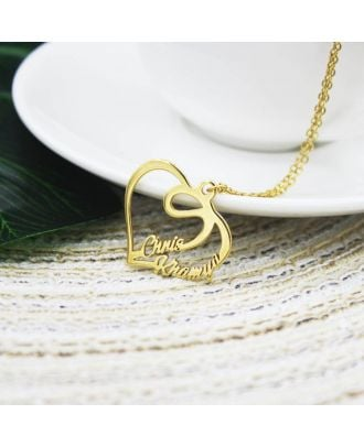 Personalised Gold / White Gold / Rose Gold Plated Heart Name Necklace