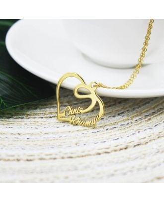 Colar banhado a ouro personalizado do nome do coração do ouro / ouro branco / rosa