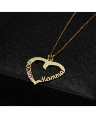 Custom White Gold / Rose Gold / Gold Plated Name Heart Necklace With Birthstone