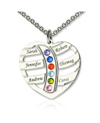 Customized Sterling Silver 925 Engraved Heart Necklace With 6 Birthstones