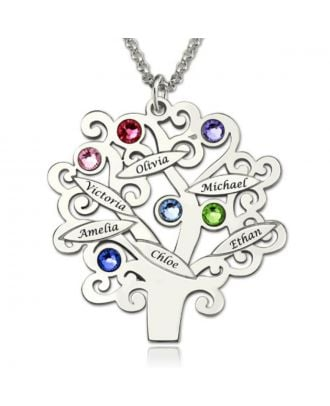 Personalised Sterling Silver 925 Engraved Family Pendant Necklace With Birthstone