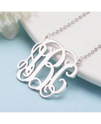 Custom Sterling Silver 925 Monogram 3 Initial Necklace in Cursive