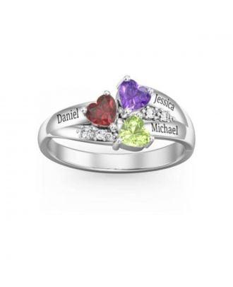 Prispôsobené strieborné gravírované prsteň 925 s 3 kameňmi a 3 menami