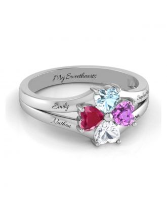 Custom Made Sterling Silver 925 Engraved Family Ring With Birthstone