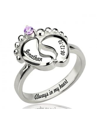 Customized Sterling Silver 925 Engraved Promise Ring With Birthstone and Footprint