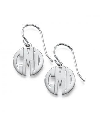 Custom Made Sterling Silver 925 Monogram 3 Initial Earrings