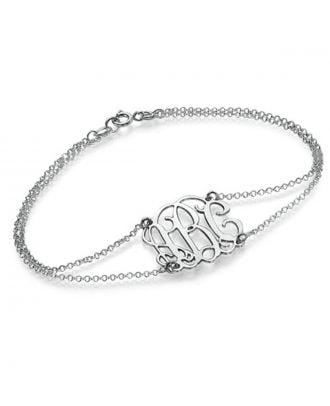 Customized Sterling Silver 925 Monogram Initial Bracelet