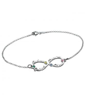 Personalised Sterling Silver 925 Infinity Name Necklaces Bracelet With Birthstone