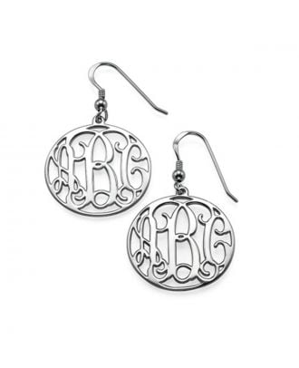 Customized Sterling Silver 925 Monogram 3 Initial Earring