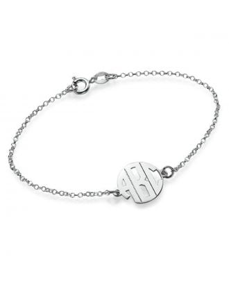 Personalized Sterling Silver 925 Monogram Initial Bracelet