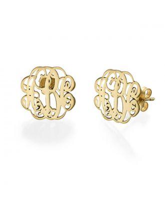 Custom Sterling Silver 925 Monogram 3 Initial Earrings  For Women