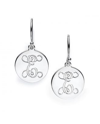 Customized Copper / Sterling Silver 925 Monogram Initial Earrings in Cursive