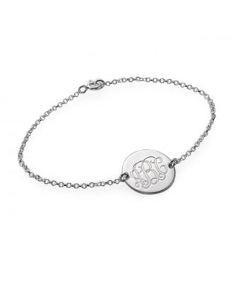 Customized Sterling Silver 925 Engraved Monogram Initial Bracelet