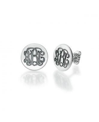 Brincos gravados em prata esterlina personalizados com a inicial do monograma 925