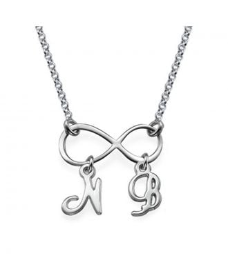 Personalized Copper / Sterling Silver 925 Infinity Monogram Initial Necklace