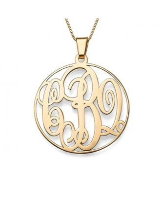 Custom Made Sterling Silver 925 / Copper Monogram Initial Circle Necklace