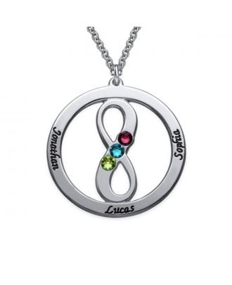 Personalized Copper / Sterling Silver 925 Engraved Infinity Family Necklace With Birthstone