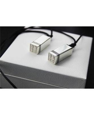 Colar gravada personalizada da barra da prata esterlina 925 com selo