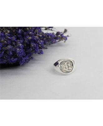 Tilpasset sterling sølv 925 Monogram 3 indledende løfte forlovelsesring