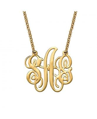 Custom Made Copper / Sterling Silver 925 Monogram 3 Initial Necklace