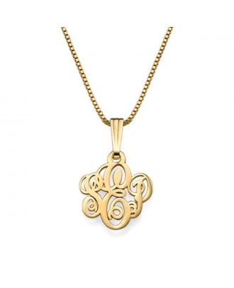 Custom Made Sterling Silver 925 Monogram Initial Pendant Necklace