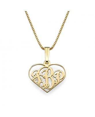 Personalised Sterling Silver 925 / Copper Monogram 3 Initial Heart Necklace