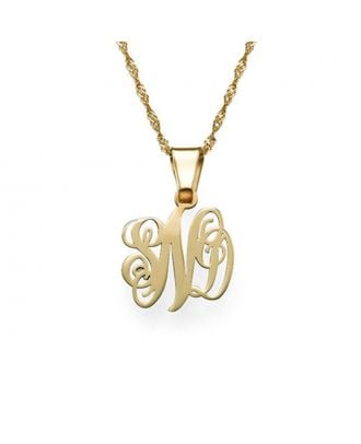 Customized Sterling Silver 925 Monogram 3 Initial Necklace in Cursive