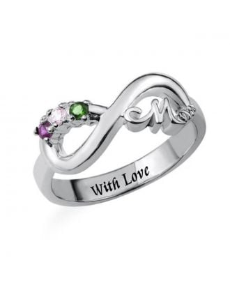 Custom Made Copper / Sterling Silver 925 Engraved Infinity Name Ring With Birthstone