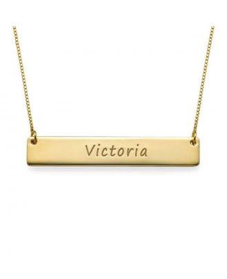 Prata esterlina personalizada 925 / colar horizontal gravada cobre da barra