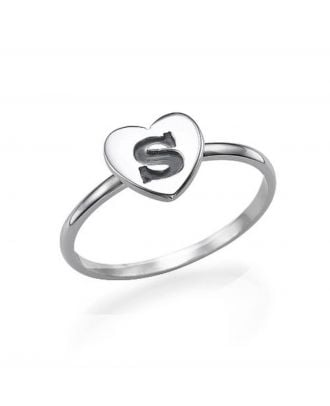 Personalised Copper / Sterling Silver 925 Engraved  Heart Ring