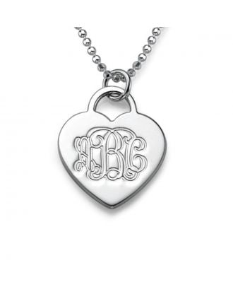 Personalized Sterling Silver 925 / Copper Monogram 3 Initial Heart Necklace