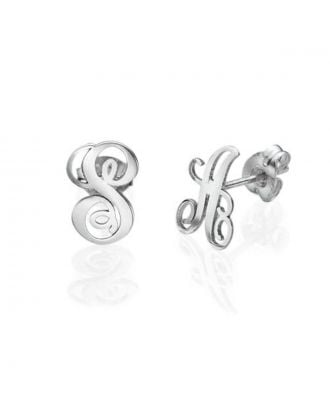 Personalized Copper / Sterling Silver 925 Monogram Initial Earrings