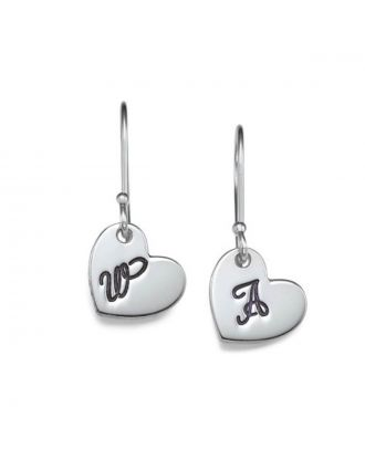 Custom Made Sterling Silver 925 / Copper Monogram Initial Heart Earrings