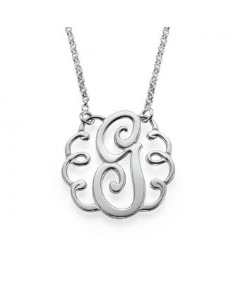 Personalized Sterling Silver 925 / Copper Monogram Initial Necklace For Mom