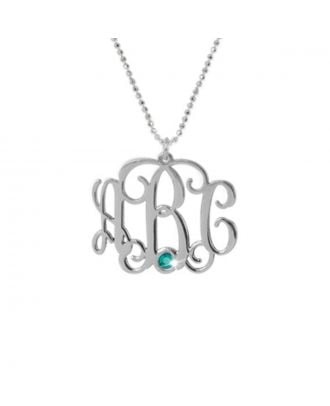 Personalised Sterling Silver 925 / Copper Monogram Initial Birthstone Necklace