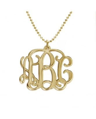 Personalised Copper / Sterling Silver 925 Monogram 3 Initial Necklace